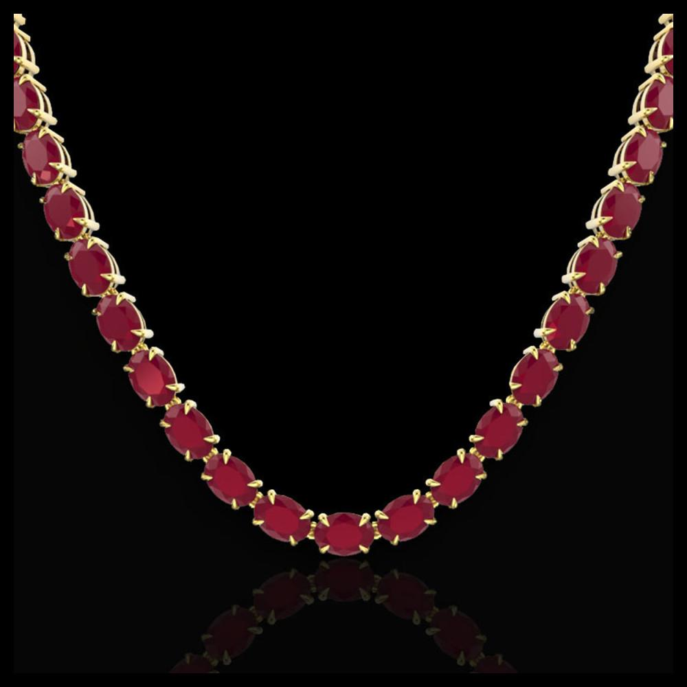 Lot 5080: 68 CTW Ruby Eternity Designer Inspired Tennis Necklace 14K Yellow Gold - REF-234H9A - 23408