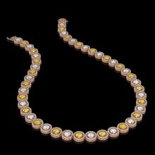 Lot 5082: 31.64 CTW Canary Yellow & White Diamond Designer Necklace 18K Rose Gold - REF-4472T8M - 42597