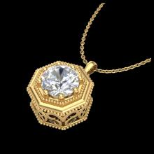 Lot 5085: 0.75 CTW VS/SI Diamond Solitaire Art Deco Necklace 18K Yellow Gold - REF-180T2M - 37099