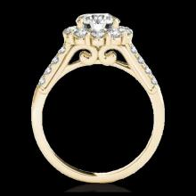 Lot 5087: 2.75 CTW H-SI/I Certified Diamond Solitaire Halo Ring 10K Yellow Gold - REF-470W9F - 33429