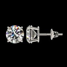 Lot 5089: 2.11 CTW Certified H-SI/I Quality Diamond Solitaire Stud Earrings 10K White Gold - REF-285N2Y - 36643