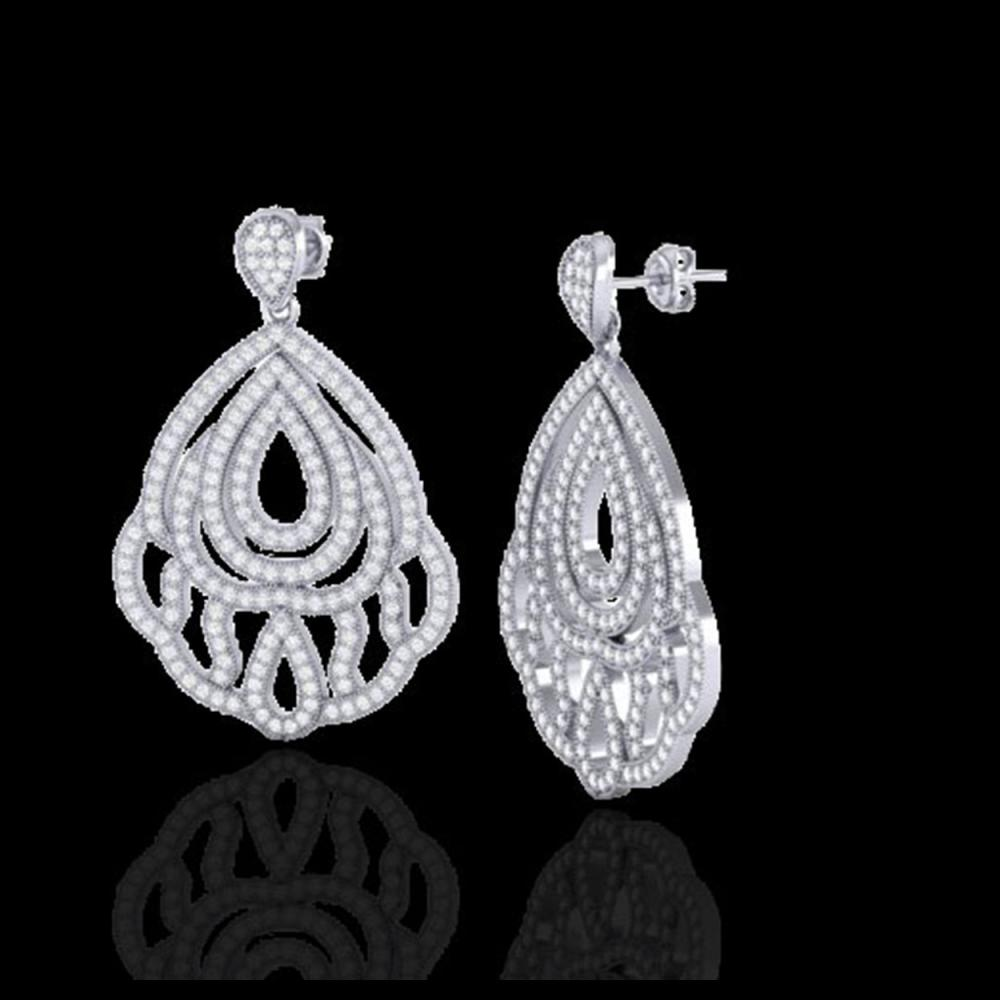 Lot 5090: 3 CTW Micro Pave VS/SI Diamond Earrings Designer 18K White Gold - REF-280H2A - 21147