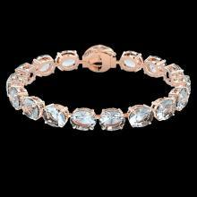 Lot 5092: 60 CTW Aquamarine & Micro Pave VS/SI Diamond Halo Bracelet 14K Rose Gold - REF-616T8M - 22251
