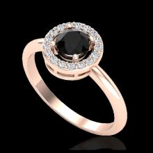 Lot 5097: 0.70 CTW Micro Pave Halo Solitaire VS/SI Diamond Ring 14K Rose Gold - REF-47W8F - 23286