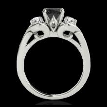 Lot 5099: 1.45 CTW Certified VS Black Diamond 3 Stone Ring 10K White Gold - REF-73T3M - 35334
