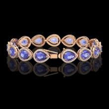 Lot 5105: 21.06 CTW Tanzanite & Diamond Halo Bracelet 10K Rose Gold - REF-532K4W - 41244