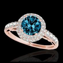 Lot 5107: 1.65 CTW SI Certified Fancy Blue Diamond Solitaire Halo Ring 10K Rose Gold - REF-178F2N - 33703