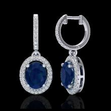 Lot 5108: 4.25 CTW Sapphire & Micro Pave VS/SI Diamond Earrings Halo 18K White Gold - REF-118K2W - 20333