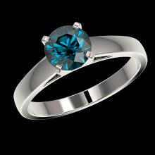 Lot 5111: 1.28 CTW Certified Intense Blue SI Diamond Solitaire Engagement Ring 10K White Gold - REF-147H8A - 36539