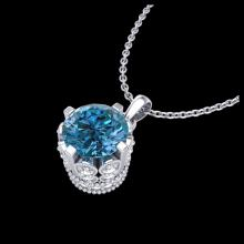 Lot 5110: 0.85 CTW Fancy Intense Blue Diamond Solitaire Art Deco Necklace 18K White Gold - REF-90T9M - 37369