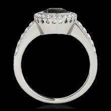 Lot 5112: 1.5 CTW Certified VS Black Diamond Solitaire Halo Ring 10K White Gold - REF-76K4W - 34444