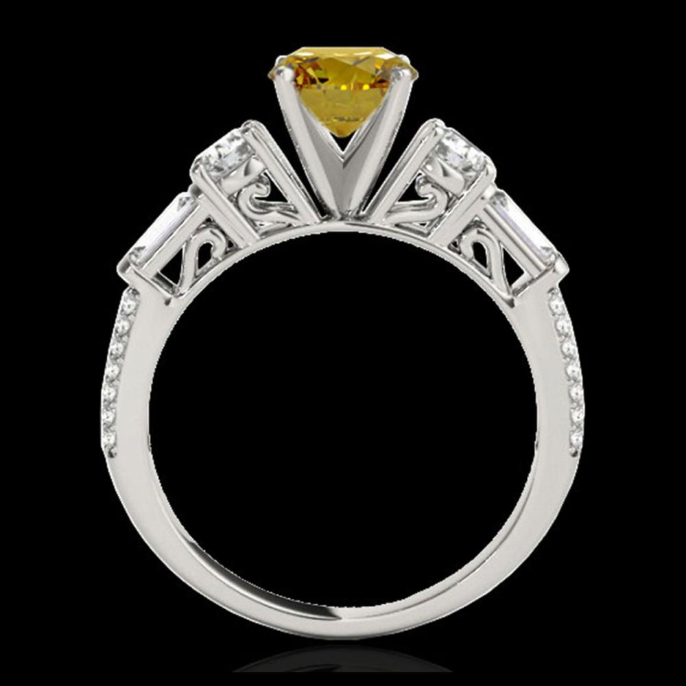 Lot 5116: 2.5 CTW Certified SI/I Fancy Intense Yellow Diamond Pave Solitaire Ring 10K White Gold - REF-327A3X - 35487