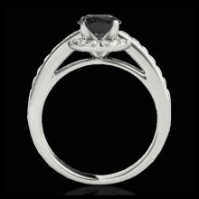 Lot 5117: 1.5 CTW Certified VS Black Diamond Solitaire Halo Ring 10K White Gold - REF-75H5A - 33928
