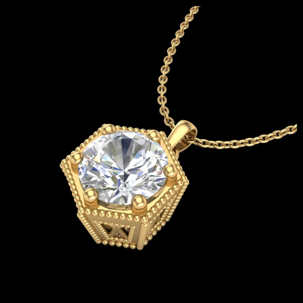 Lot 5120: 0.82 CTW VS/SI Diamond Solitaire Art Deco Stud Necklace 18K Yellow Gold - REF-218N2Y - 37222
