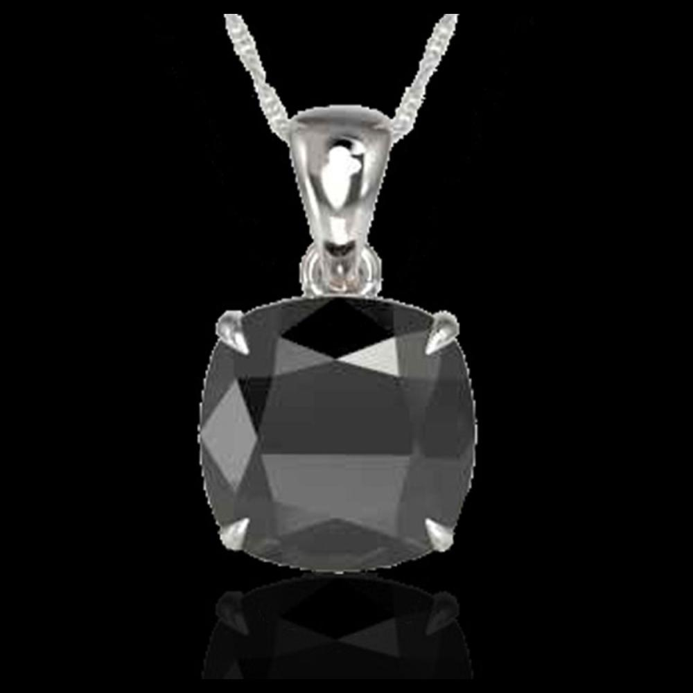 Lot 5122: 6 Cushion Cut Black VS/SI Diamond Designer Necklace 18K White Gold - REF-137W6F - 21975