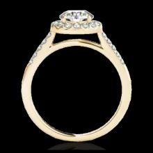 Lot 5124: 2 CTW H-SI/I Certified Diamond Solitaire Halo Ring 10K Yellow Gold - REF-362K2W - 33492