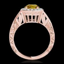 Lot 5134: 1.75 CTW Certified SI/I Fancy Intense Yellow Diamond Solitaire Halo Ring 10K Rose Gold - REF-320A2X - 34530