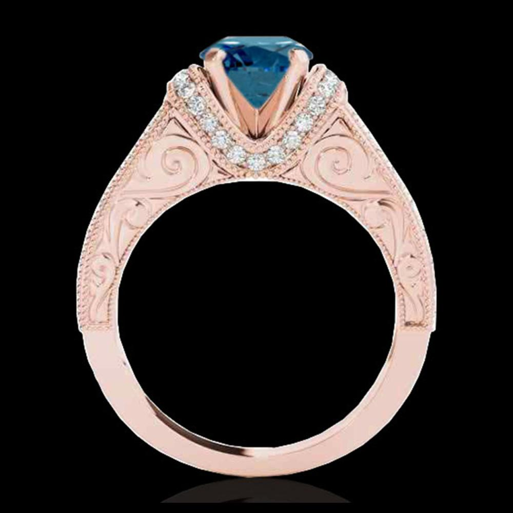 Lot 5135: 1.75 CTW SI Certified Blue Diamond Solitaire Antique Ring 10K Rose Gold - REF-218W2F - 34789