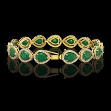 Lot 5141: 30.06 CTW Emerald & Diamond Halo Bracelet 10K Yellow Gold - REF-393W3F - 41236