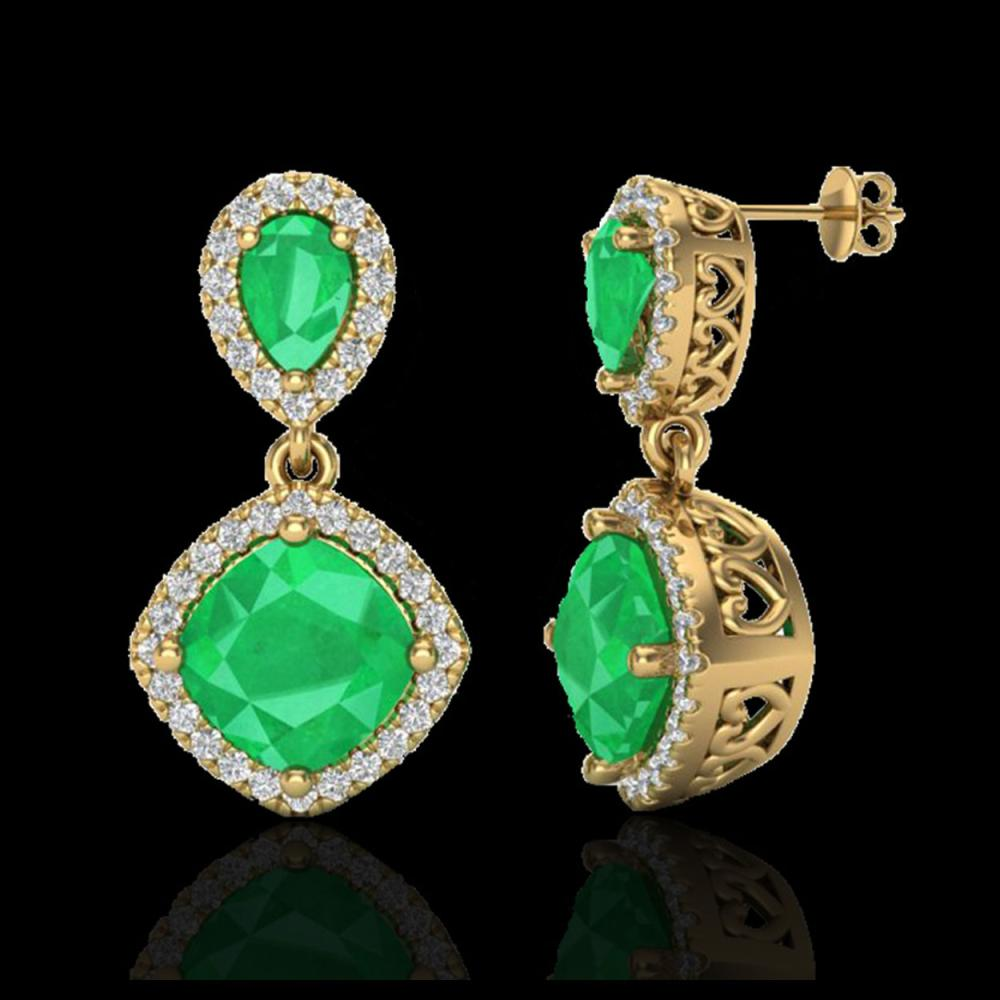 Lot 5144: 7 CTW Emerald & Micro Pave VS/SI Diamond Earrings Designer Halo 10K Yellow Gold - REF-107M3H - 20206