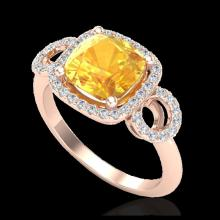 Lot 5145: 3.75 CTW Citrine & Micro VS/SI Diamond Ring 14K Rose Gold - REF-54H9A - 22999