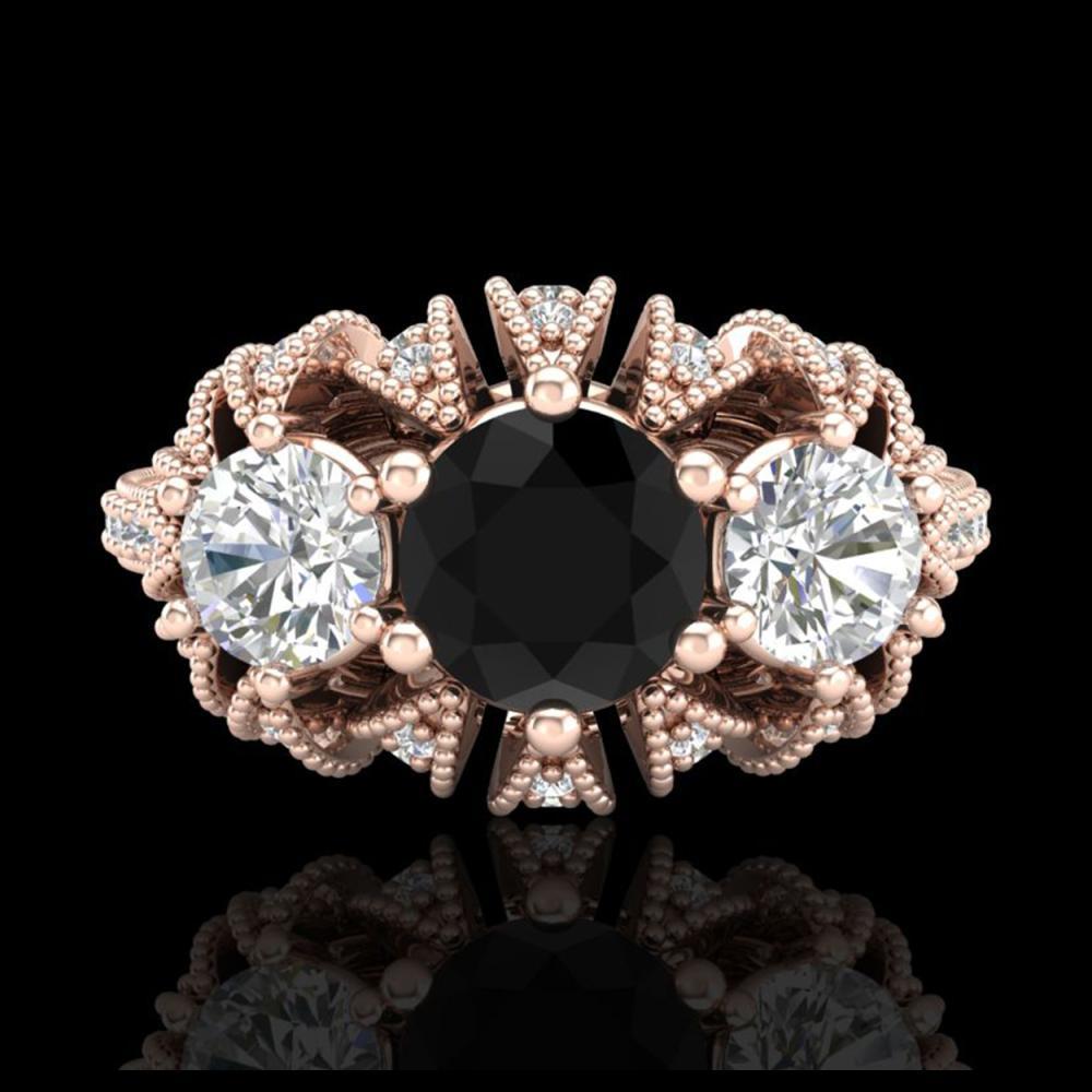 Lot 5148: 2.26 CTW Fancy Black Diamond Art Deco Micro Pave 3 Stone Ring 18K Rose Gold - REF-218X2T - 37745