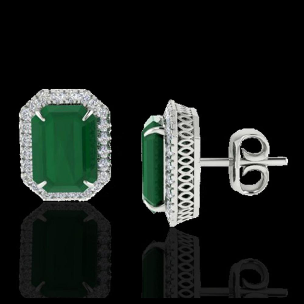 Lot 5151: 10.40 CTW Emerald & Micro Pave VS/SI Diamond Halo Earrings 18K White Gold - REF-142N4Y - 21224