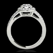Lot 5152: 1.6 CTW H-SI/I Certified Diamond Solitaire Halo Ring 10K White Gold - REF-180K2W - 34247