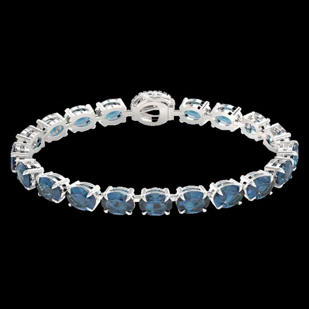 Lot 5155: 36 CTW London Blue Topaz & VS/SI Diamond Tennis Micro Halo Bracelet 14K White Gold - REF-128T9M - 23446