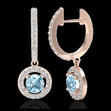 Lot 5156: 1.75 CTW Sky Topaz & Micro Pave Halo VS/SI Diamond Earrings 14K Rose Gold - REF-71Y3K - 23260