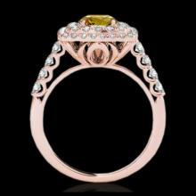 Lot 5157: 2.05 CTW Certified SI/I Fancy Intense Yellow Diamond Solitaire Halo Ring 10K Rose Gold - REF-225K5W - 34593