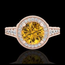 Lot 5158: 1.91 CTW Intense Fancy Yellow Diamond Engagement Art Deco Ring 18K Rose Gold - REF-263Y6K - 37687