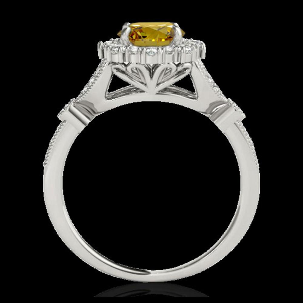 Lot 5159: 1.5 CTW Certified SI/I Fancy Intense Yellow Diamond Solitaire Halo Ring 10K White Gold - REF-174A5X - 33767