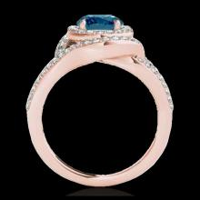Lot 5161: 1.9 CTW SI Certified Fancy Blue Diamond Solitaire Halo Ring 10K Rose Gold - REF-209X3T - 34393