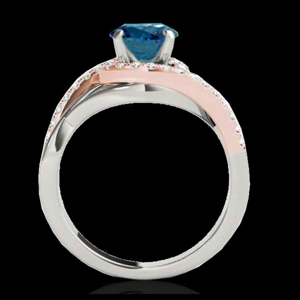 Lot 5166: 1.8 CTW SI Certified Fancy Blue Diamond Bypass Solitaire Ring 10K White & Rose Gold - REF-272X8T - 35091
