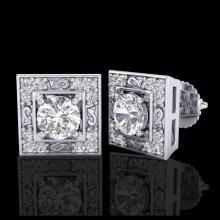 Lot 5169: 1.63 CTW VS/SI Diamond Solitaire Art Deco Stud Earrings 18K White Gold - REF-254K5W - 37268