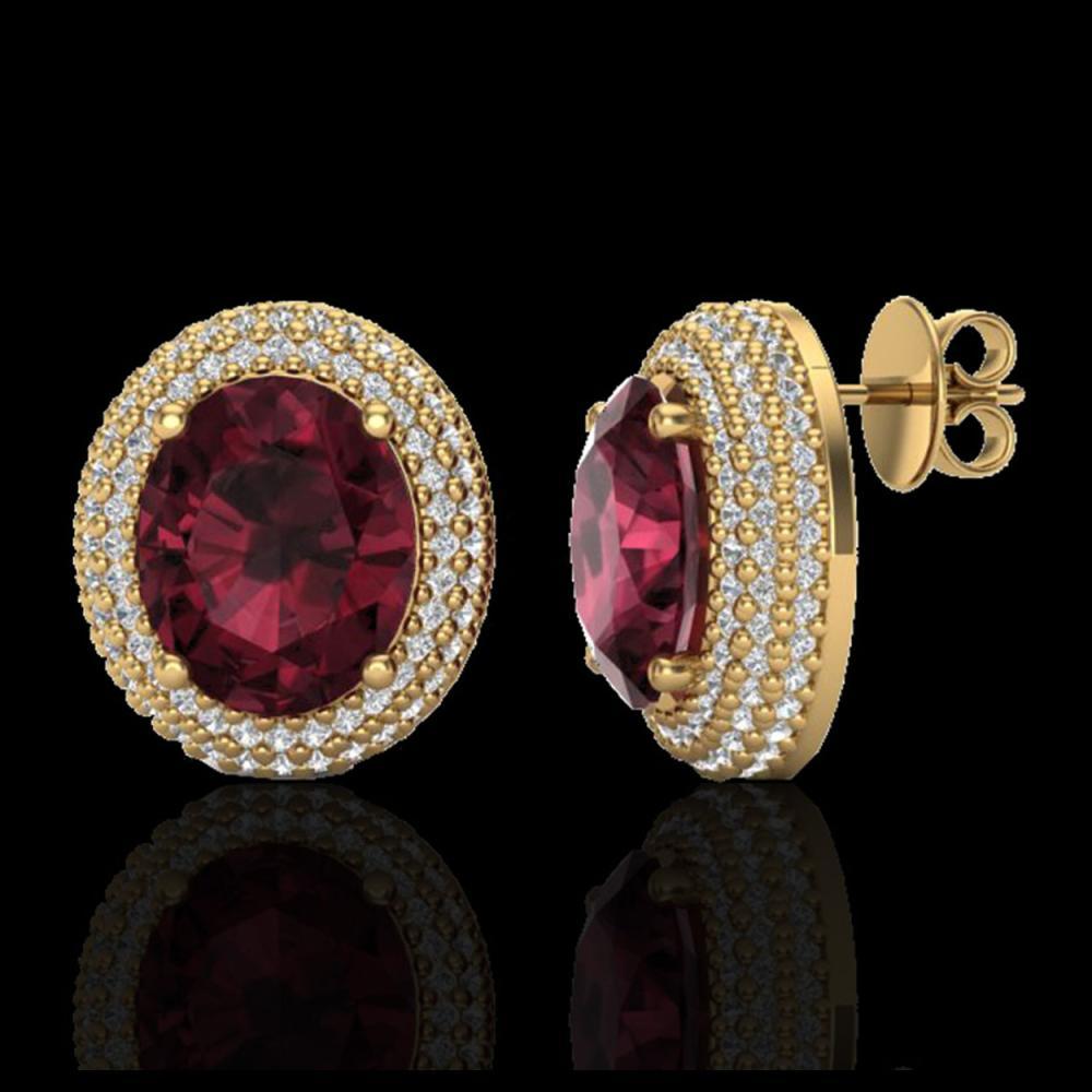 Lot 5172: 9 CTW Garnet & Micro Pave VS/SI Diamond Earrings 18K Yellow Gold - REF-153H5A - 20227