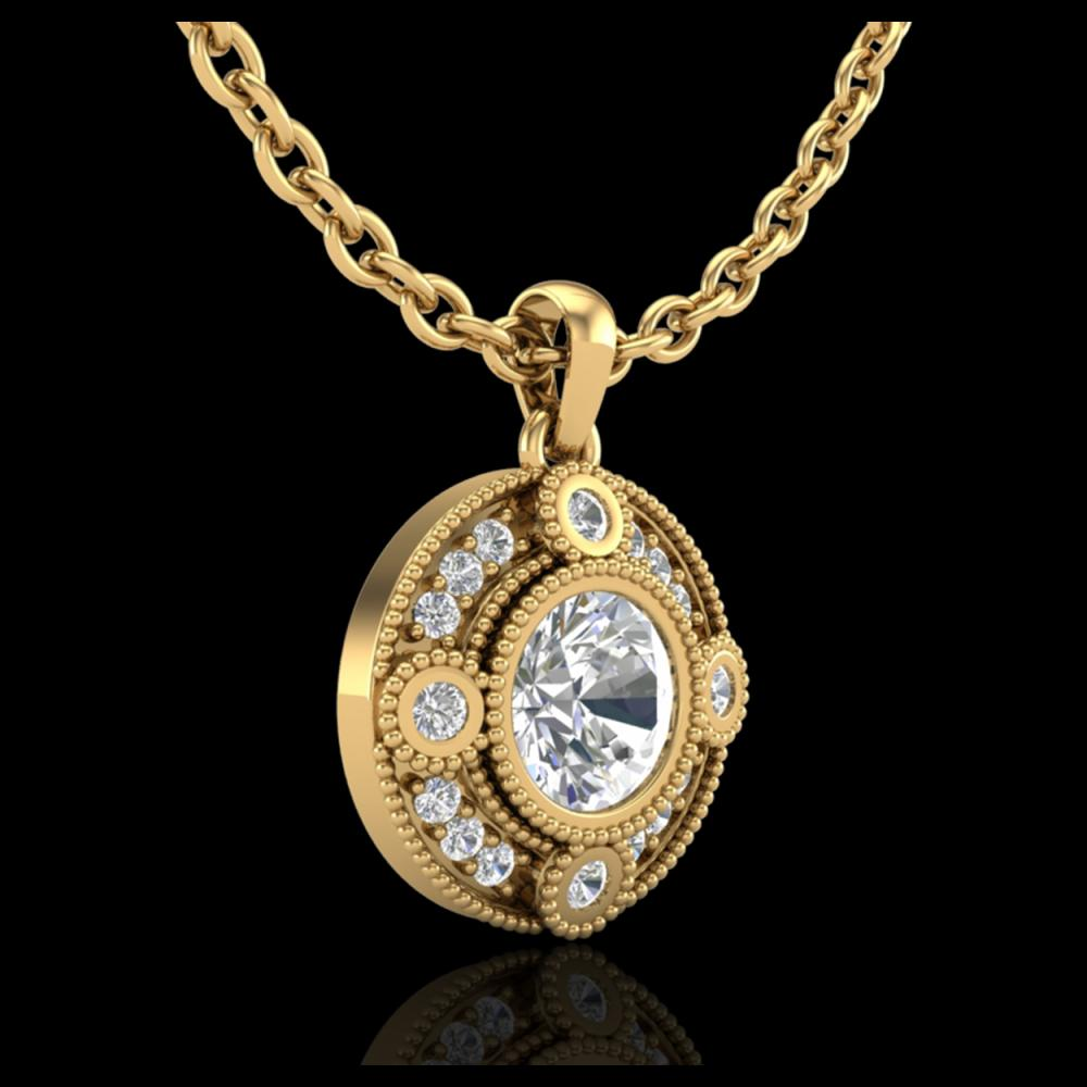 Lot 5176: 1.01 CTW VS/SI Diamond Solitaire Art Deco Necklace 18K Yellow Gold - REF-221F8N - 36985