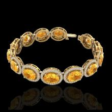 Lot 5180: 24 CTW Citrine & Micro Pave VS/SI Diamond Bracelet 10K Yellow Gold - REF-360M2H - 22685