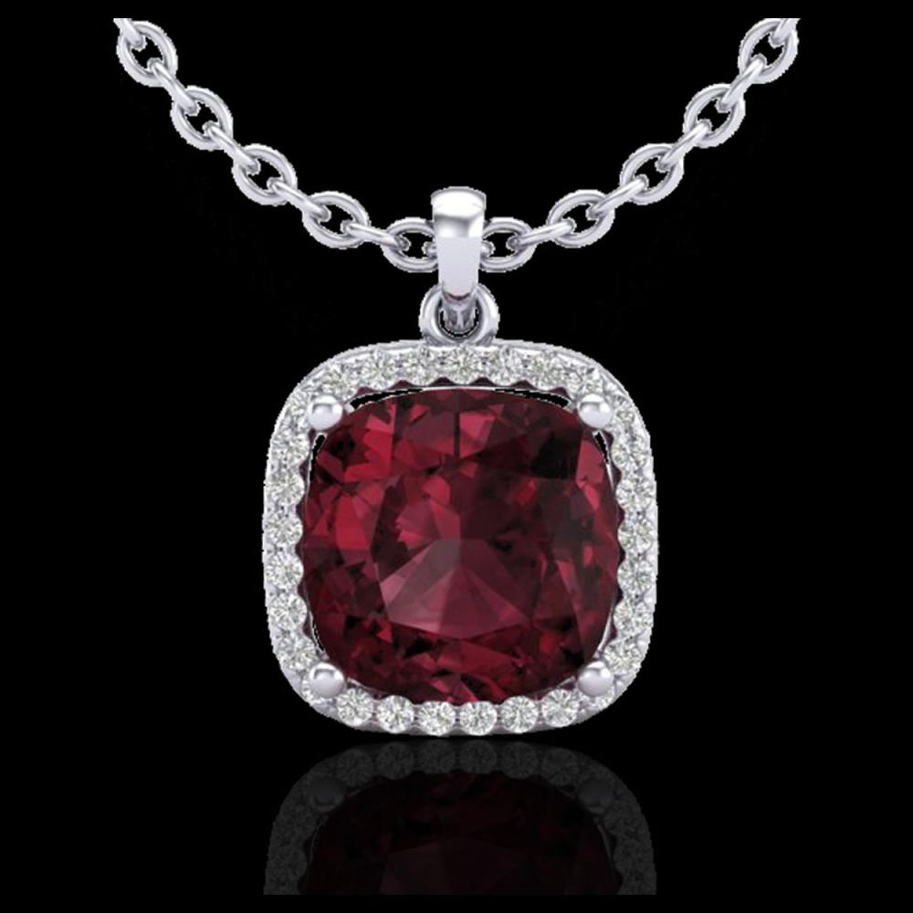 Lot 5181: 6 CTW Garnet & Micro Pave Halo VS/SI Diamond Necklace Solitaire 18K White Gold - REF-54H2A - 23081
