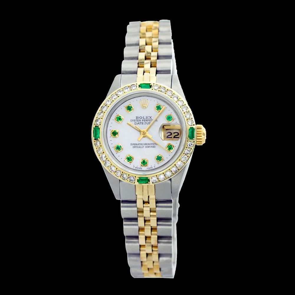 Lot 5186: Rolex Men's Two Tone 14K Gold/SS, QuickSet, Diam/Emerald Dial & Diam/Emerald Bezel - REF-563Y7X