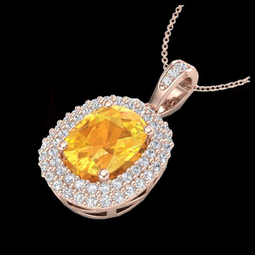 Lot 5187: 3 CTW Citrine & Micro Pave VS/SI Diamond Halo Necklace 14K Rose Gold - REF-65X5T - 20410