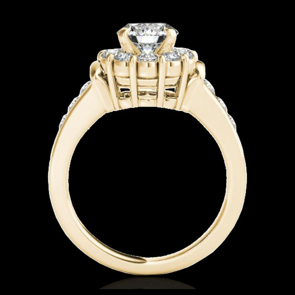 Lot 5188: 1.9 CTW H-SI/I Certified Diamond Solitaire Halo Ring 10K Yellow Gold - REF-206X4T - 34294