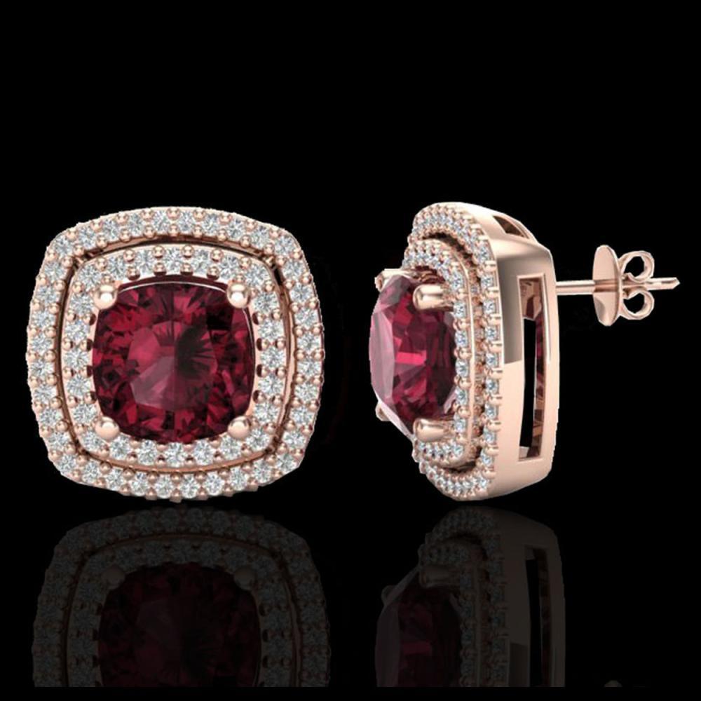 Lot 5191: 4.55 CTW Garnet & Micro Pave VS/SI Diamond Halo Earrings 14K Rose Gold - REF-84N8Y - 20164