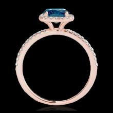 Lot 5192: 1.25 CTW SI Certified Fancy Blue Diamond Solitaire Halo Ring 10K Rose Gold - REF-172X8T - 33331