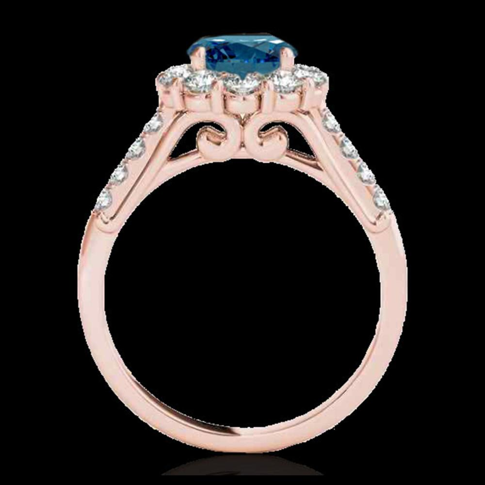 Lot 5198: 2 CTW SI Certified Fancy Blue Diamond Solitaire Halo Ring 10K Rose Gold - REF-207K3W - 33424