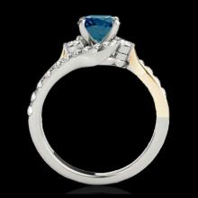 Lot 5199: 1.6 CTW SI Certified Fancy Blue Diamond Bypass Solitaire Ring 10K White & Yellow Gold - REF-180A2X - 35115