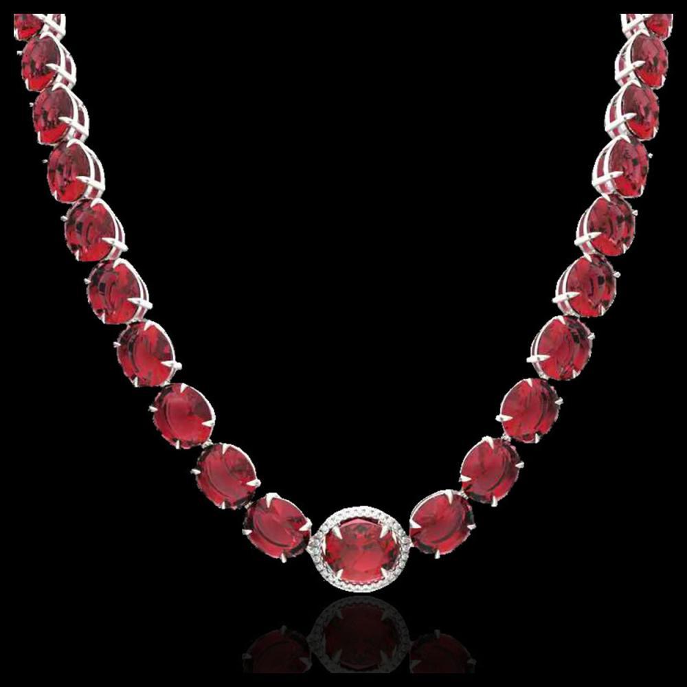 Lot 5200: 145 CTW Pink Tourmaline & VS/SI Diamond Halo Micro Necklace 14K White Gold - REF-1955F6N - 22310