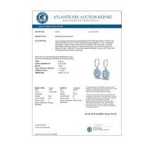 Lot 5024: 4.25 CTW Sky Blue Topaz & Micro VS/SI Diamond Earrings Halo 18K White Gold - REF-94T8M - 20316