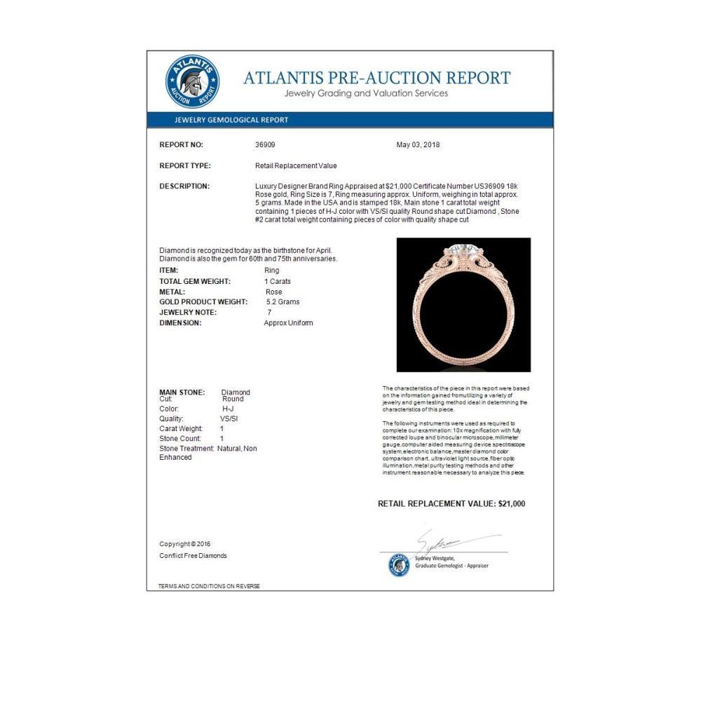 Lot 5154: 1 CTW VS/SI Diamond Solitaire Art Deco Ring 18K Rose Gold - REF-315F2N - 36909